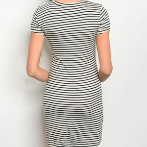 popular basics Dresses - Body Con Striped Dress Short Sleeve Fitted Black